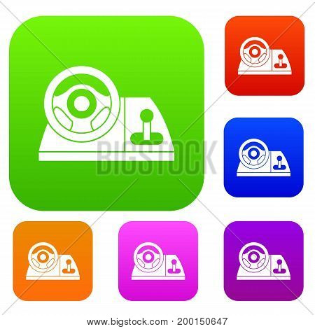 Computer steering wheel set icon in different colors isolated vector illustration. Premium collection