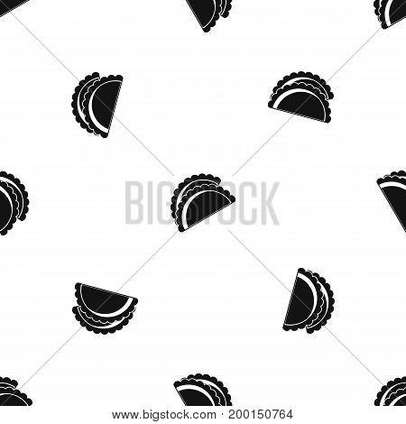 Empanadas de pollo pattern repeat seamless in black color for any design. Vector geometric illustration
