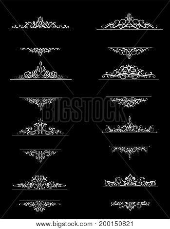 Vintage vector swirl frame set on black background