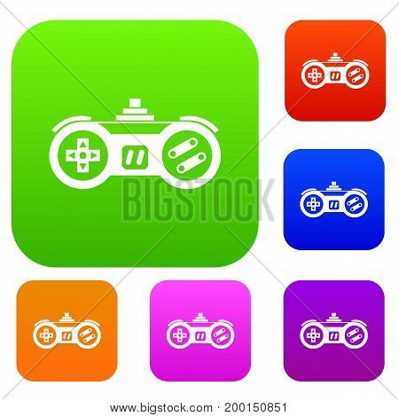 Gamepad set icon in different colors isolated vector illustration. Premium collection