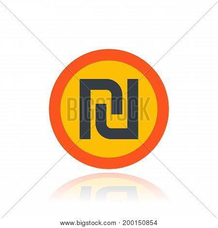 shekel, israeli money symbol over white, eps 10 file, easy to edit