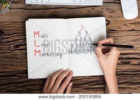 Close-up Of A Human Hand Drawing Multilevel Marketing Concept On Notebook
