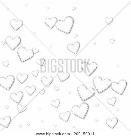 Cutout Paper Hearts. Abstract Mess On White Background. Vector Illustration.