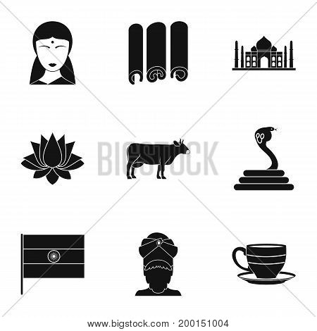 India icon set. Simple style set of 9 India vector icons for web isolated on white background