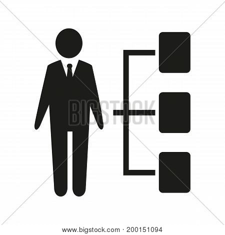 Simple icon of businessman with options. Choice, vacancy, features. Resources concept. Can be used for topics like business, employment, management