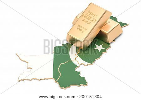 Foreign-exchange reserves of Pakistan concept 3D rendering isolated on white background