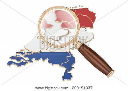 Netherlands under magnifying glass analysis concept 3D rendering isolated on white background