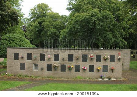 Columbarium at a cemetery public storage of cinerary urns memorial wall