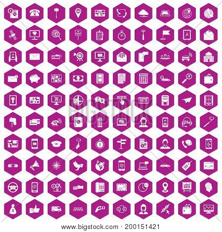 100 smartphone icons set in violet hexagon isolated vector illustration