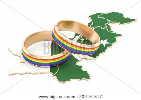 Pakistani map with LGBT rainbow rings 3D rendering