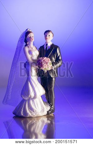 Newlyweds embraced bride and groom. Wedding dance
