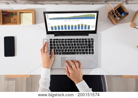 High Angle View Of A Businesswoman Analyzing The Graph On Laptop At Workplace