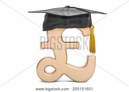 Pound sterling symbol with graduation cap 3D rendering isolated on white background