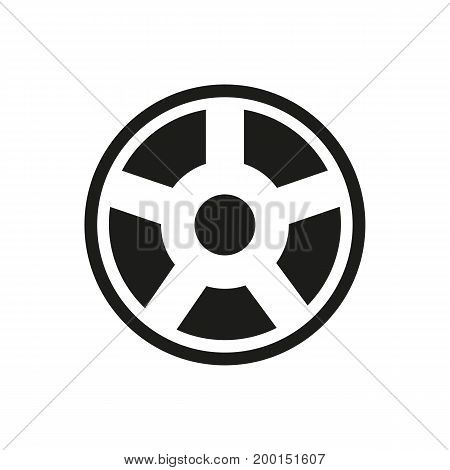 Simple icon of film reel. Cinema, wheel, tape reel. Movie concept. Can be used for topics like automobile, entertainment, recording