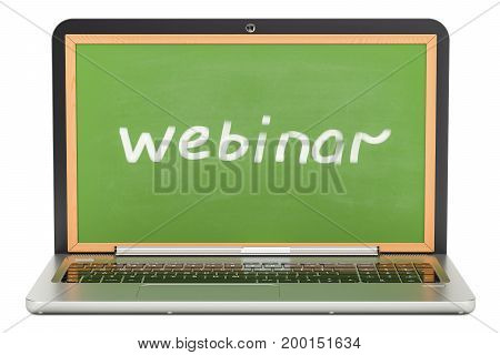 webinar concept with laptop 3D rendering isolated on white background