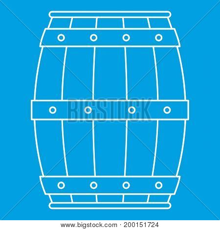 Wooden barrel icon blue outline style isolated vector illustration. Thin line sign