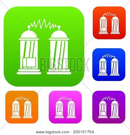 Electrical impulses set icon in different colors isolated vector illustration. Premium collection