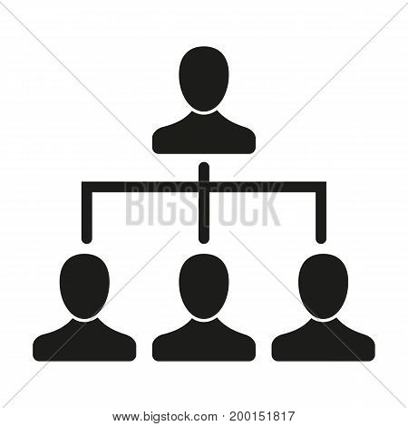 Simple icon of hierarchy of workers in company. Subordination, organization, leader. Resources concept. Can be used for topics like business, management, employment