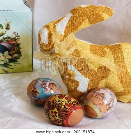 Decorative boxes and bunnies for Easter holiday