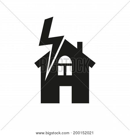 Simple icon of lightning over house. Electricity, accident danger. Insurance concept. Can be used for topics like service, energy, emergence