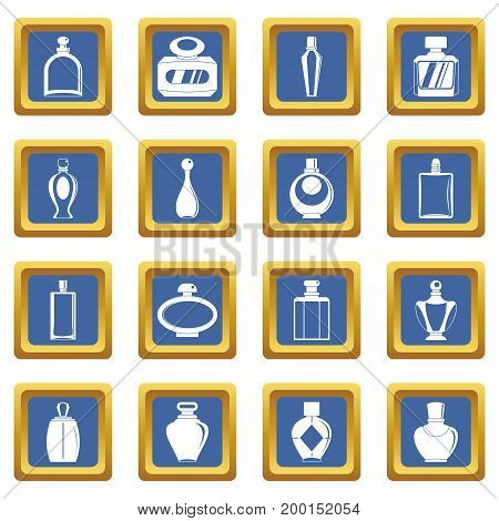 Perfume bottles icons set in blue color isolated vector illustration for web and any design