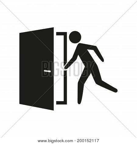 Simple icon of man running off door. Exit, entrance, walkway. Resources concept. Can be used for information boards, application and web pictograms