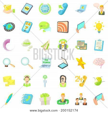 Phone call icons set. Cartoon style of 36 phone call vector icons for web isolated on white background