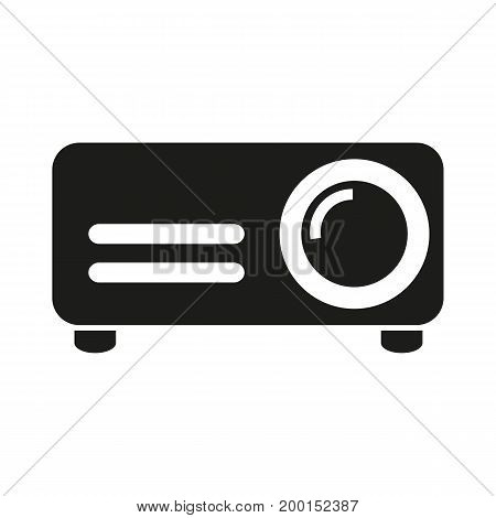 Simple icon of projector. Cinema, video, presentation. Movie concept. Can be used for topics like entertainment, technology, education