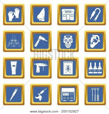 Tattoo parlor icons set in blue color isolated vector illustration for web and any design