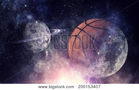 Basketball game concept . Mixed media