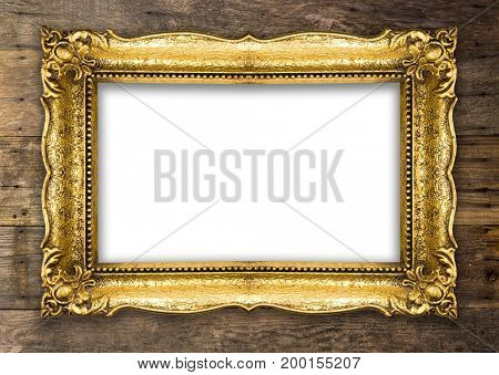 Old Picture Frame on wooden baclground wall, white empty design