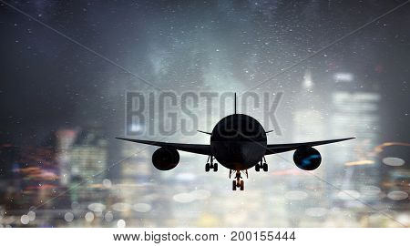 Airliner in sky. Mixed media . Mixed media