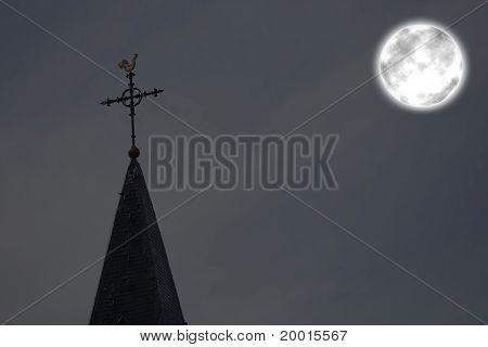 Full Moon Over Church Tower