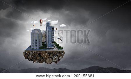 Modern city concept. Mixed media . Mixed media