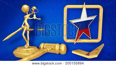 Russian Election Interference Legal  Concept Lady Justice The Original 3D Character Illustration