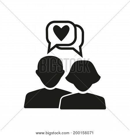 Simple icon of talking couple with hearts in speech bubbles. Flirt, internet dating, dating. Love concept. Can be used for topics like relationships, communication, holiday