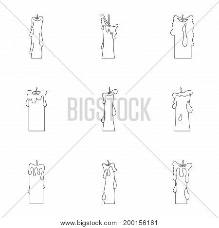 Candles icon set. Outline style set of 9 candles vector icons for web isolated on white background