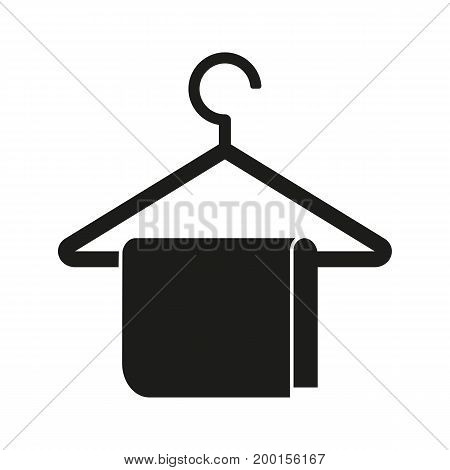 Simple icon of towel on hanger. Wardrobe, store, rack. Basket concept. Can be used for topics like shopping, sale, clothing