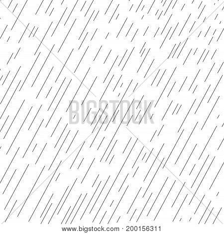 Rain. Rainy pattern. Raindrops texture. Dynamic diagonal Black lines on white background. Fall rain. Rainy day, wet, vector illustration, print.