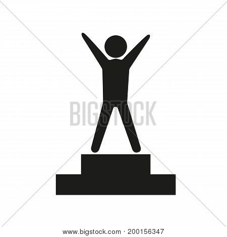 Simple icon of winner standing on pedestal. Success, victory, achievement. Resources concept. Can be used for topics like business, sport, psychology
