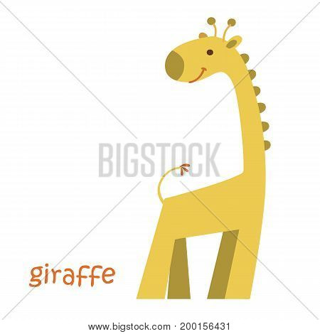 Giraffe isolated. Drawing giraffe for a child