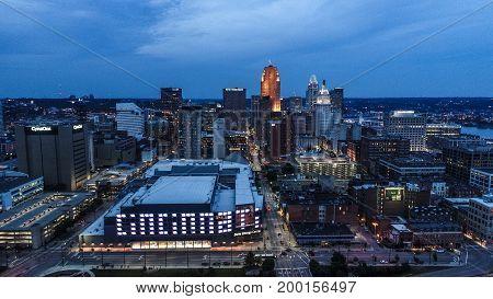 Drone Portrait Of The Cincinnati Skyline During The Evening