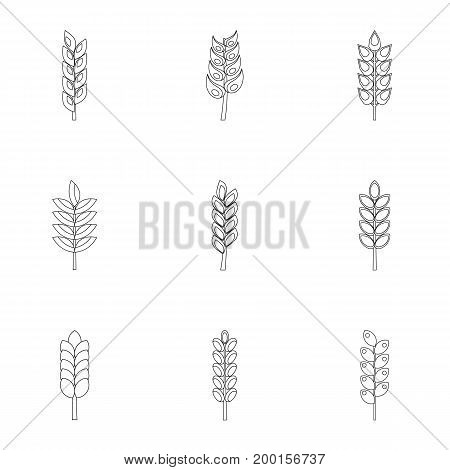 Grains icon set. Outline style set of 9 grains vector icons for web isolated on white background