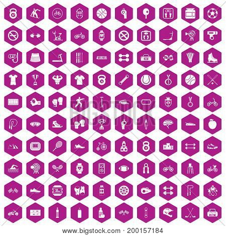 100 sport icons set in violet hexagon isolated vector illustration