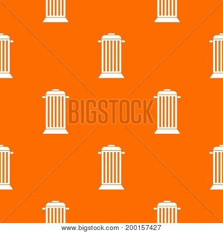 Street trash pattern repeat seamless in orange color for any design. Vector geometric illustration