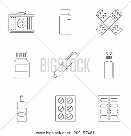 Pharmacy icon set. Outline style set of 9 pharmacy vector icons for web isolated on white background