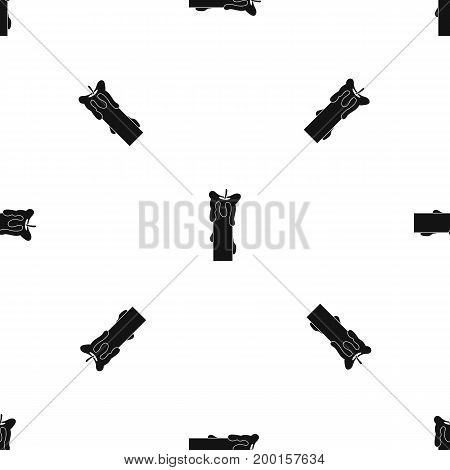 Extinguished candle pattern repeat seamless in black color for any design. Vector geometric illustration