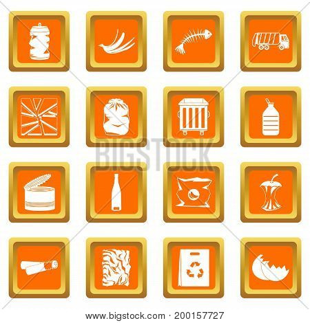 Waste and garbage for recycling icons set in orange color isolated vector illustration for web and any design