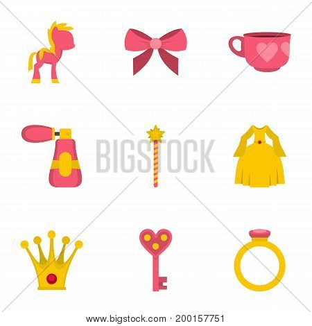 Princess fairy tail icon set. Flat style set of 9 princess fairy tail vector icons for web isolated on white background