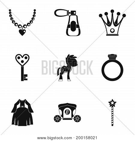 Princess accessories icon set. Simple style set of 9 princess accessories vector icons for web isolated on white background